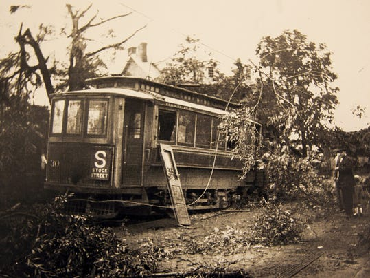A trolley car from Stock Street that was damaged by falling tree debris in 1915 after a tornado hit the Hanover area.