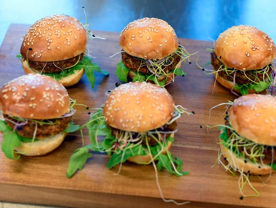 FILE - In this Aug. 14, 2017 file photo insect burgers