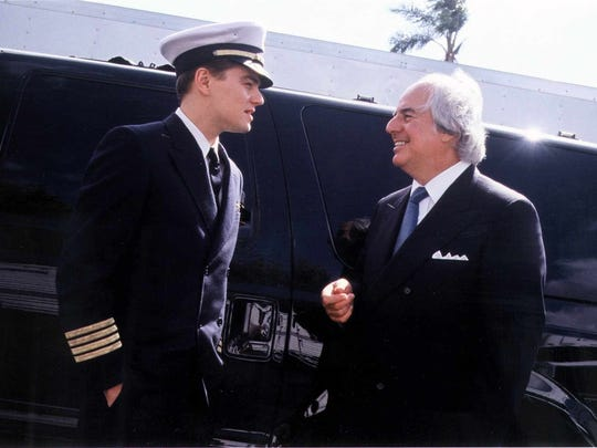 "Leonardo DiCaprio, left, starred as Frank Abagnale (right) in the motion picture ""Catch Me if You Can."" Abagnale appeared in Edison Tuesday to talk about fraud awareness."