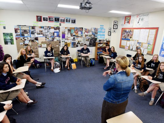 Loyola College Prep's Mary Beth Fox teaches the AP Government class that has had the opportunity in recent weeks to hear from each of the candidates running for the 4th Congressional District seat.