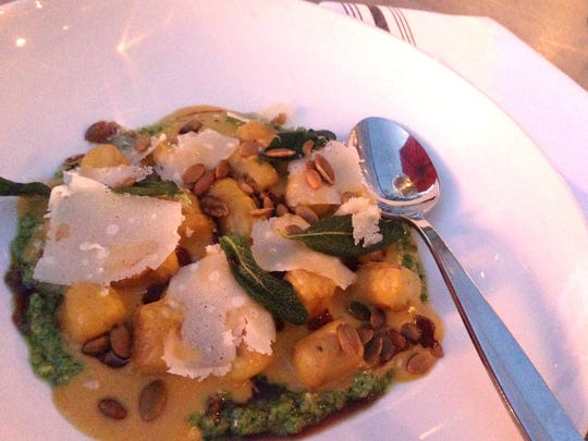 A blush of fall color from the fire makes Tinker Street's pumpkin gnocchi an autumnal dream.