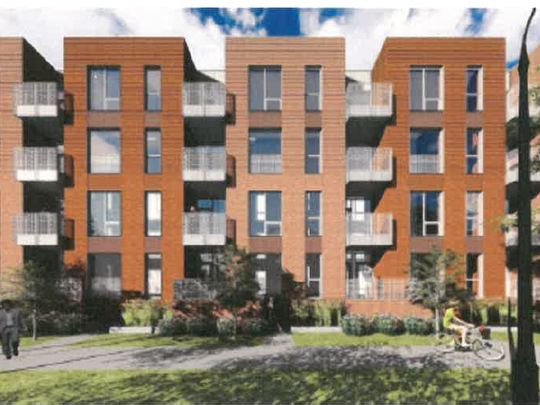 This rendering shows the Augusta Place townhomes from
