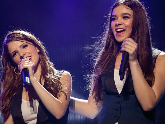 Anna Kendrick, left, and Hailee Steinfeld sing out