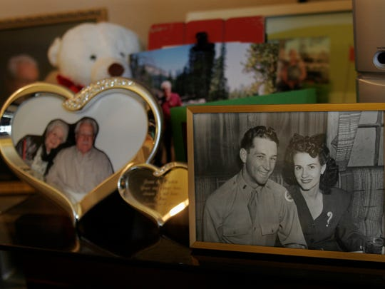 A photograph of Jean and Helen Mae Shaw, taken while Jean was serving in the U.S. Army, sits among other more recent pictures in Jean's living room at the Atria Hillcrest, an assisted-living facility in Thousand Oaks. They were married 73 years before she died on Valentine's Day of this year.