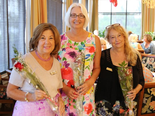 July birthday girls, from left, Laura Geberth, Nancy Bethel and Jeanne Sommer.