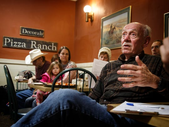 Darrel Jensen asks questions during a Decorah Power meeting at Pizza Ranch in Deborah Thursday, March 22, 2018.
