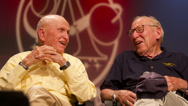 Apollo 8 astronauts Frank Borman and Jim Lovell take part in a panel discussion during EAA AirVenture 2017 at Wittman Regional Airport in Oshkosh.