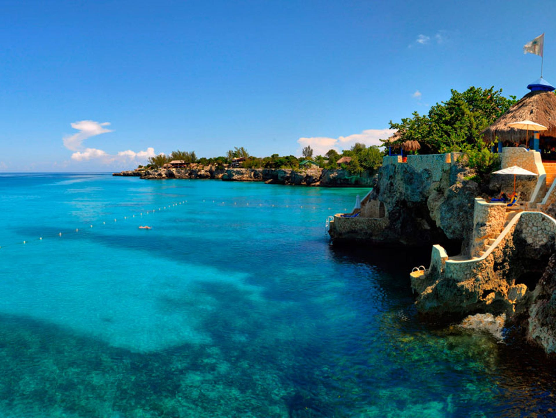 Perched on the limestone cliffs of Negril, Jamaica,