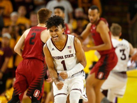 Arizona State guard Remy Martin celebrates a basket