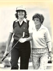 From left, Silvia Bertolaccini, of Argentina and Sandra Palmer during an early Colgate-Dinah Shore event.