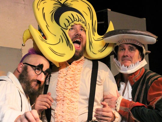 "Casey Baccus, Lance Turner and Brent Jenkins form the three-person cast of ""The Complete Works of William Shakespeare (Abridged)."""