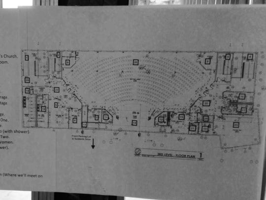 Floor plan posted on the unfinished second floor of