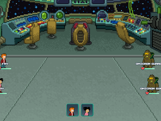 "This image shows a scene from ""Futurama: Worlds of"