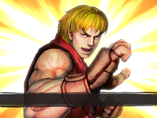 "This image shows a scene from ""Street Fighter IV: Champion"