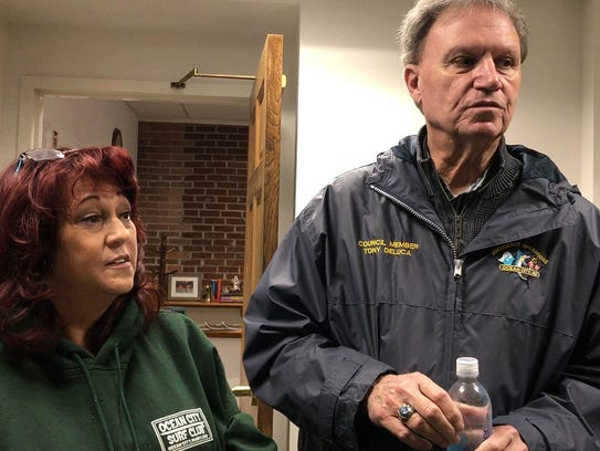 Effie Cox of Adopt Your Beach and Tony Deluca, an Ocean City councilman, speak about the importance of keeping trash out of the water.