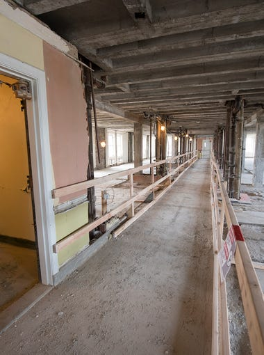 Looking down what was a hallway on the seventh floor that was rooms and suites has been gutted of it's partition walls at The Yorktowne Hotel on May 7, 2018.