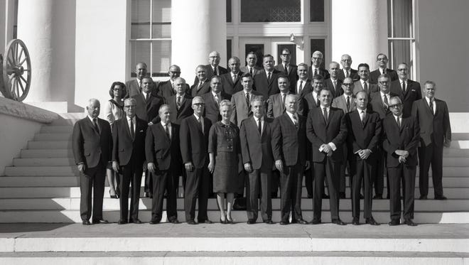 Future Florida governors Lawton Chiles and Reubin Askew stand beside each other (second row, fourth and fifth from left) as the Constitutional Revision Commission of 1968 posed on the steps of the Capitol in 1966. Chiles and Askew were opponents of the decision for the Florida Legislature to meet annually instead of every two years.