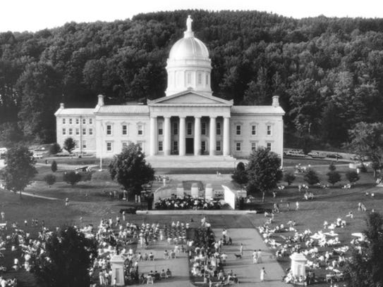 The Vermont Statehouse during a celebration of the