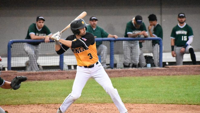 The Sussex County Miners' Kellen Hatheway bats during a game against the Jersey Wiseguys on Friday night at Skylands Stadium.