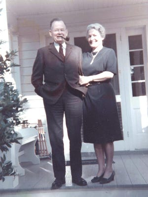 """Virginia and Lt. Gen. Lewis Burwell """"Chesty"""" Puller, circa 1970, stand on their front porch in Saluda, Va. A group of Marine veterans have launched a nonprofit to raise money to purchase the Puller family's old home."""