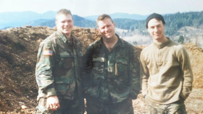 Sgt. Wade Baker, left, spent nine years in the Army, serving three combat tours.