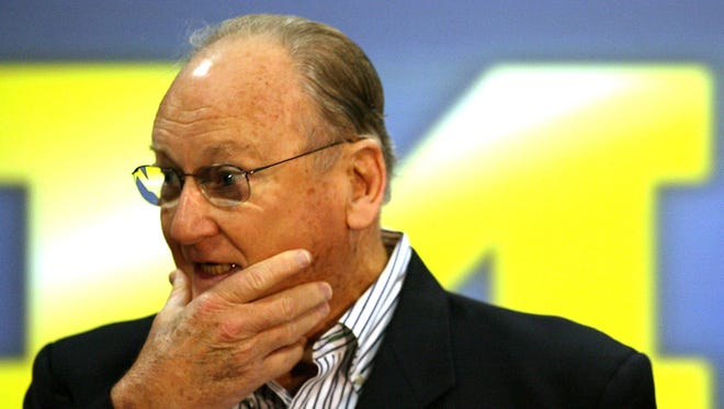 Former Michigan Wolverines football coach Bo Schembechler speaks during a press conference on Nov. 13, 2006 before the school's game against Ohio State.