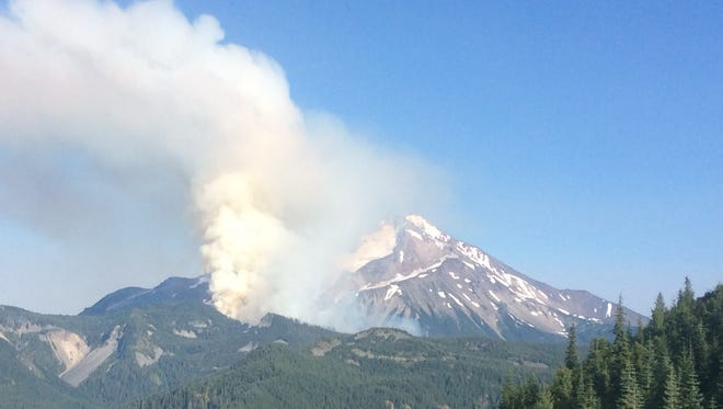 The Whitewater Fire is burning in the Mount Jefferson Wilderness.