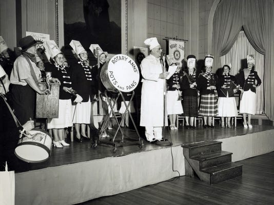 Led by York Rotary member Harry M. Steinhauser, wives of Rotarians were 'Rotary Anns' for Rotary's Annual Ladies' Night Party at the Yorktowne Hotel. The year was 1954.