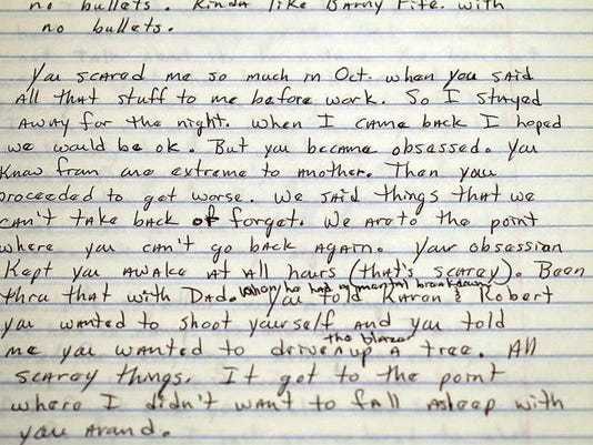 Laurie Kuykendall Kepner wrote letters to her estranged husband, Martin Kepner, after she moved out, trying to reason with him and explain why she feared him. He murdered her and her friend Barb Schrum, then committed suicide, on May 29.