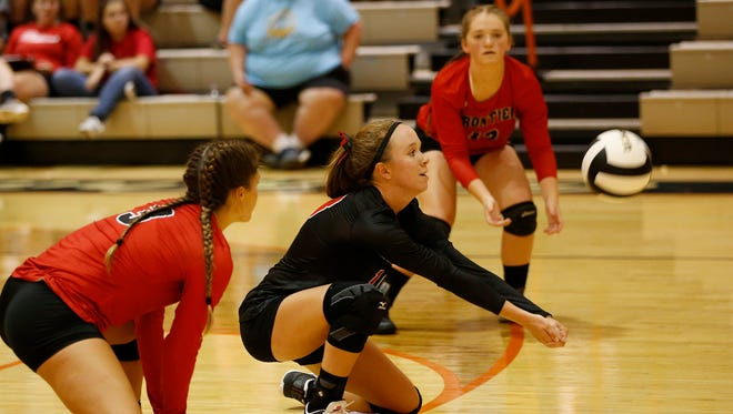Frontier's Payton Clapper with a dig against Harrison Tuesday, August 22, 2017, in West Lafayette. The Harrison swept Frontier 25-13, 25-16, 25-13.