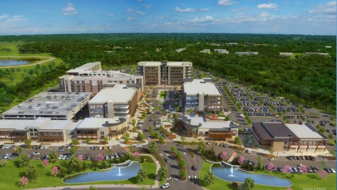 This rendering shows long-term vision for Fountains at Gateway Development of corporate offices, hotel, restaurants, shops and recreational opportunities.