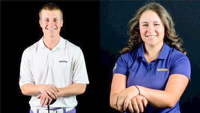 Calum Hill and Bobbi Pierson earned Scholar-Athlete awards for WNMU.