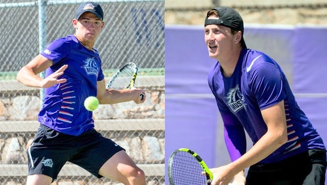 From left, are Vladimir Gnilozubov and Tristan Da Lio, who were remarkable as WNMU tennis players in doubles.