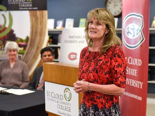 St. Cloud Technical & Community College Interim PresidentÊLori Kloos talk about the new partnership agreement with St. Cloud State University Wednesday, July 12, at SCTCC.