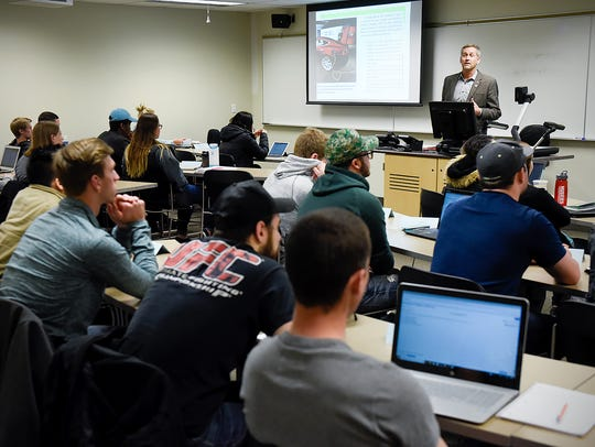 David Yantes teaches his intro to marketing class Wednesday,
