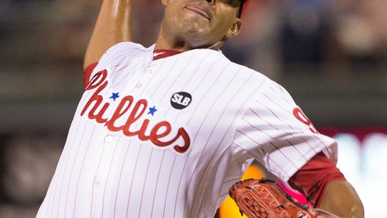 Phillies relief pitcher Dalier Hinojosa pitches during