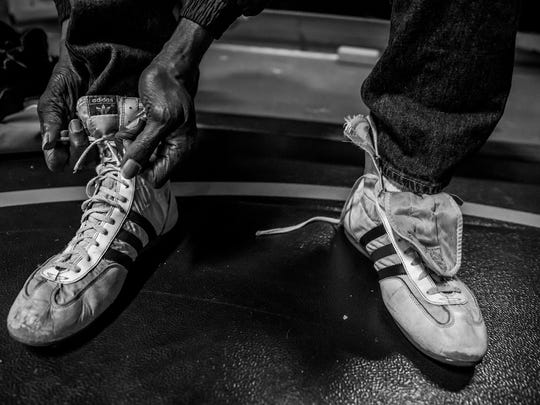 Before every session, Seales slips on the same tattered old Adidas boxing shoes he wore in the 1972 Olympics.