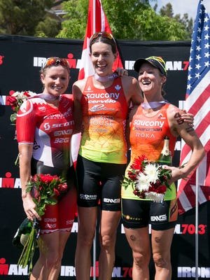 Iron Man 70.3 with 1st place winner Heather Wurtele, 2nd place winner Meredith Kessier, and 3rd place winner Jodie Swallow in St George on Saturday. May 2, 2015