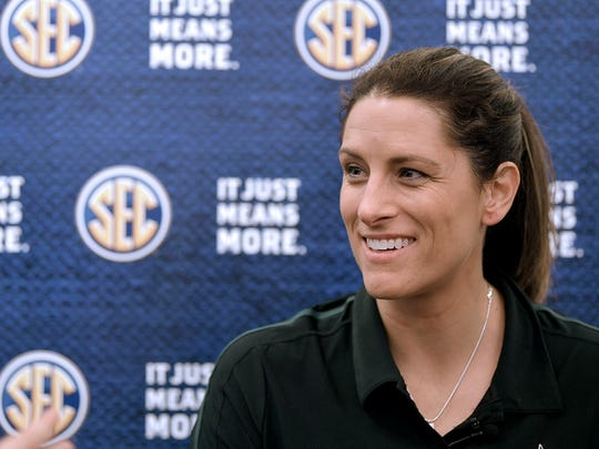 Vanderbilt coach Stephanie White during the 2017-18 SEC Women's Basketball Media Day at the Omni Hotel in Nashville on Thursday, Oct. 19, 2017.