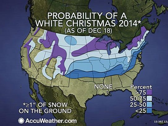 Chances for a white Christmas are greatest in the Rockies,