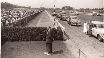 Amory L. Haskell, a founding father of Monmouth Park, whose daughter, Isabelle de Tomaso, owns Betfair.com Haskell Invitational contender Irish War Cry, addresses the crowd at Monmouth Park in the mid-1950s.