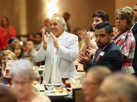 Actor Pepe Serna applauds during the Education Is Our Freedom GED College Scholarship Banquet on Tuesday, July 25, 2017, in Corpus Christi.