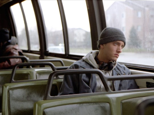"Eminem in ""8 Mile,"" which arrived in theaters 15 years ago this week."