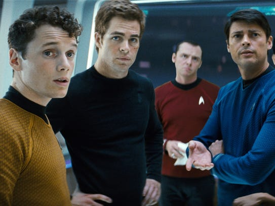 Anton Yelchin as Chekov (from left), Chris Pine as