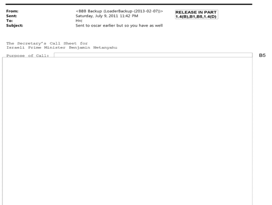 Another 2011 email marked as having classified information details a planned call between Hillary Clinton and Israeli Prime Minister Benjamin Netanyahu.