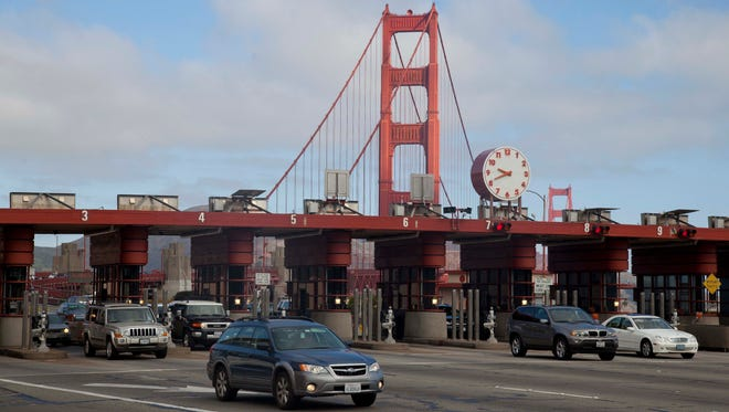 San Francisco's Golden Gate Bridge is one of a growing number of roadways that use all-electronic tolling, which can present challenges for rental car customers.