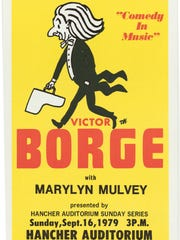 A poster for Victor Borge's performance at Hancher
