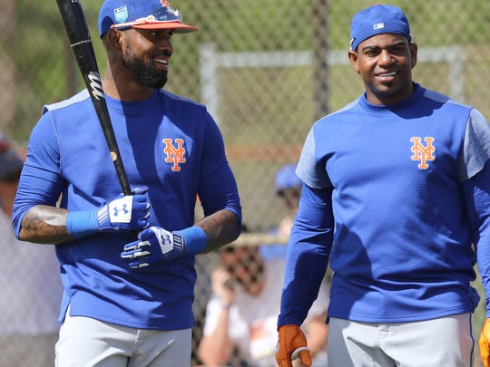 The Mets workout this morning.  Jose Reyes and Yoenis Cespedes on the practice field.
