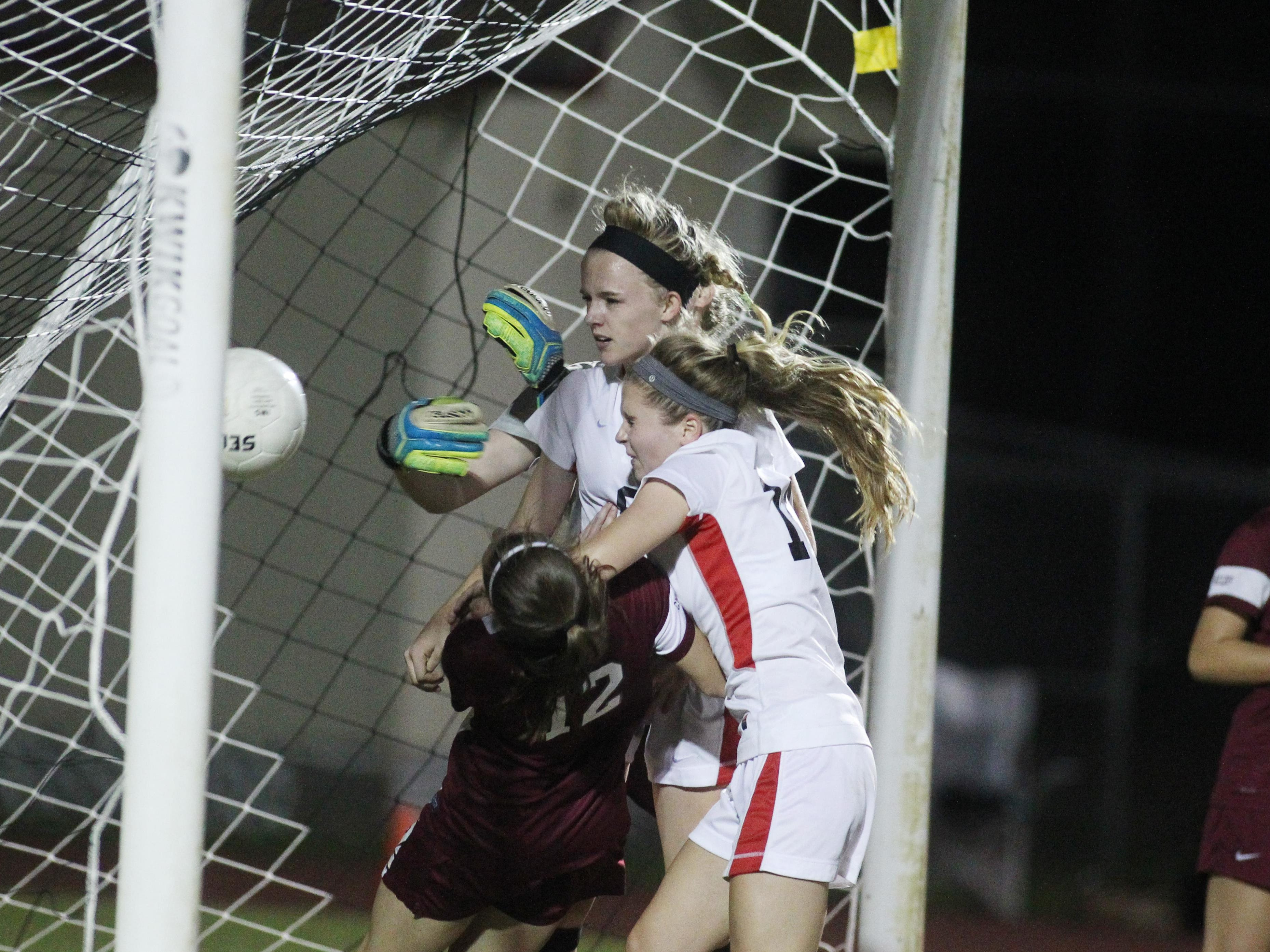Leon sophomore Maddie Powell scored a goal off a header during a 3-0 win over Chiles on Tuesday night.