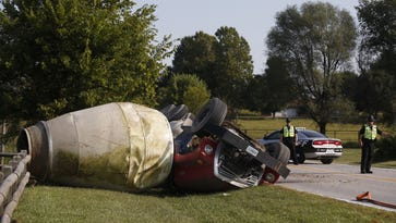 No injuries reported after concrete truck overturns, Republic police say